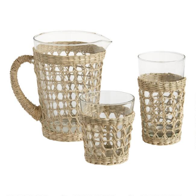 Woven Seagrass Wrapped Glassware Collection