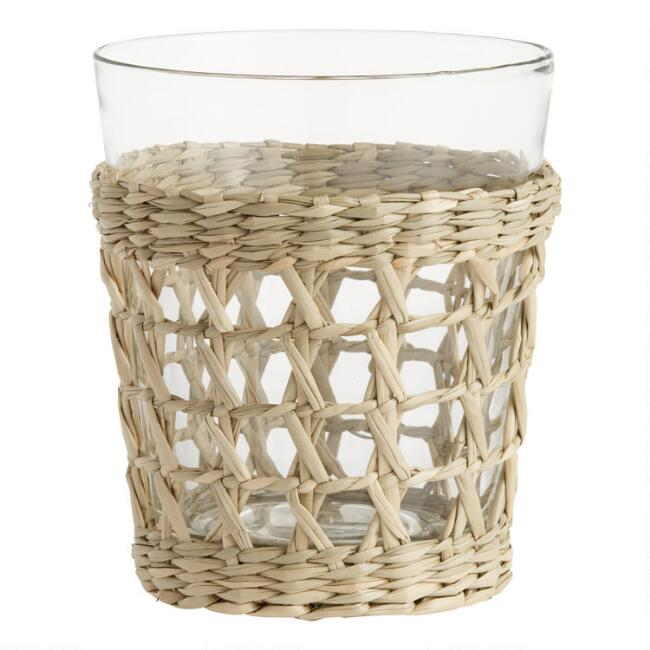 Woven Seagrass Wrapped Double Old Fashioned Glasses Set of 4