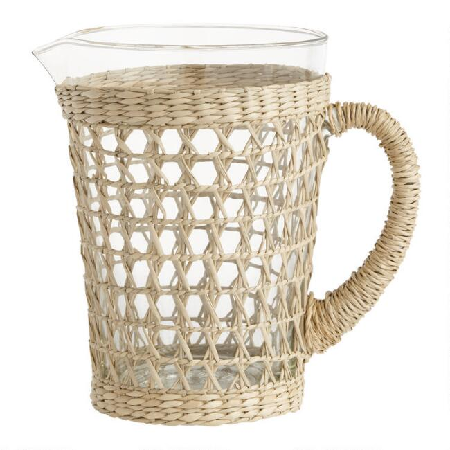 Glass Woven Seagrass Wrapped Drink Pitcher