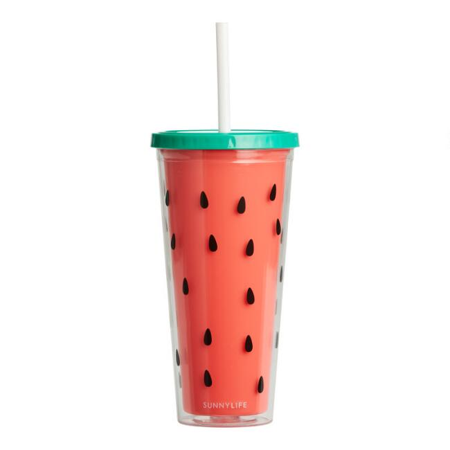 Sunnylife Watermelon Double Wall Cup with Straw