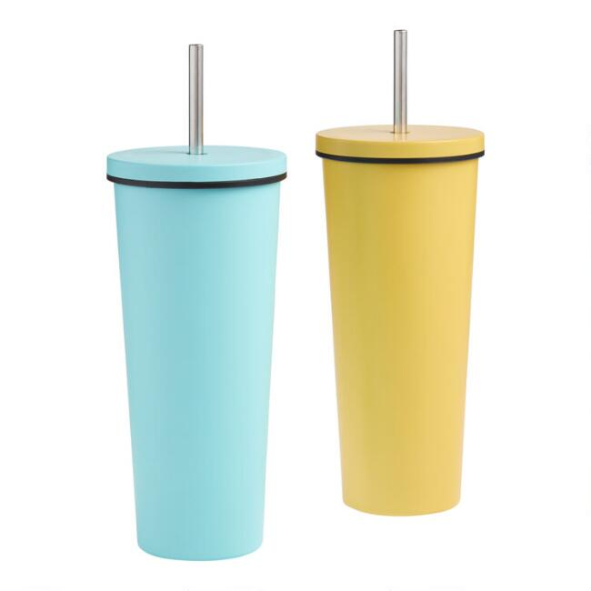 Bright Metal Double Wall Cup with Straw Set of 2