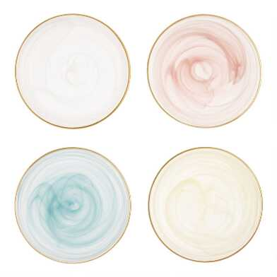 Gold Rimmed Glass Dessert Plates Set of 4