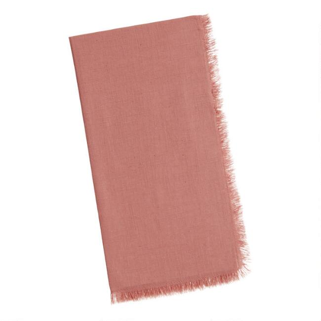 Dusty Rose Cotton Slub Napkins With Fringe Set Of 4