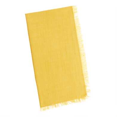 Yellow Cotton Slub Napkins With Fringe Set Of 4