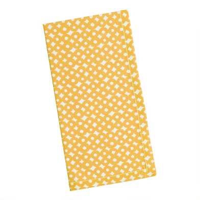 Yellow And White Circle Print Napkins Set Of 4