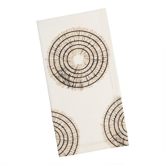 White And Black Circle Print Napkins Set Of 4