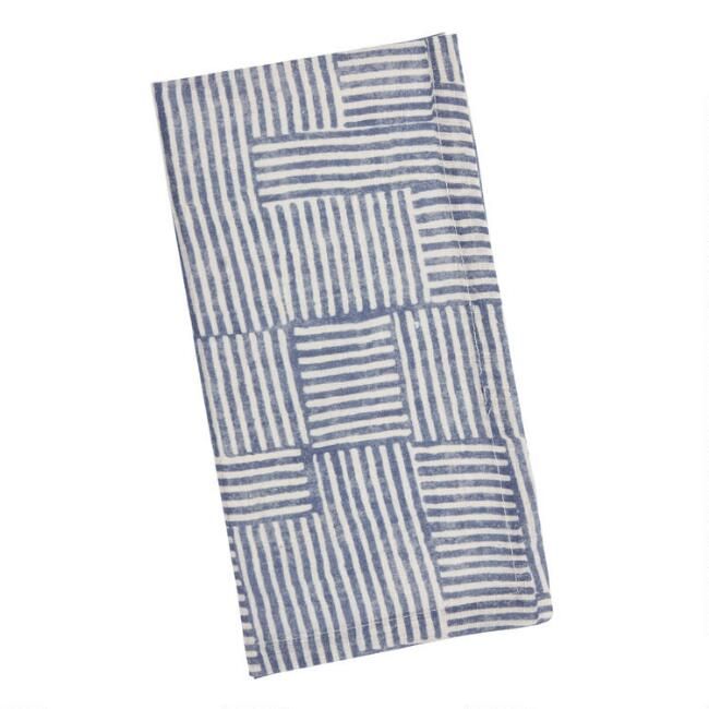Blue And White Square Bijou Napkins Set Of 4