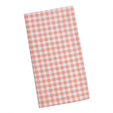 Coral And White Gingham Napkins Set Of 4
