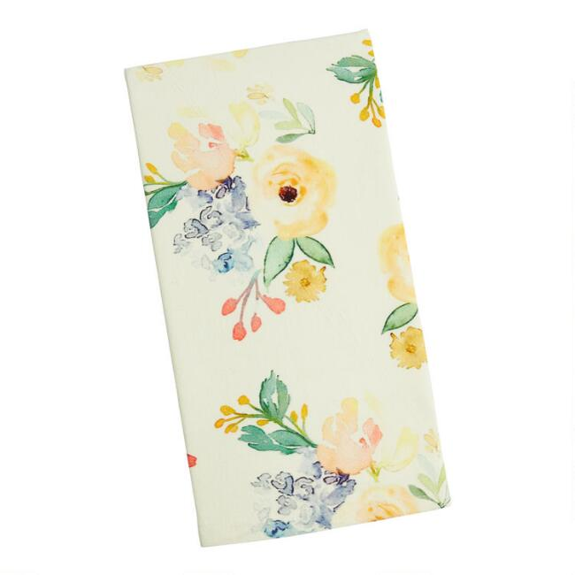 Ivory Multicolor Peony Kitchen Towel
