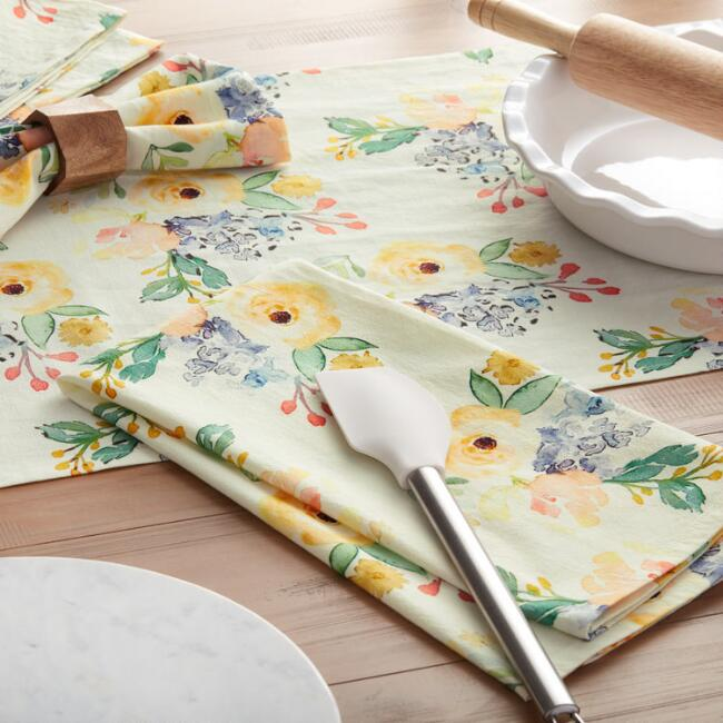 Ivory Multicolor Peony Kitchen and Table Linen Collection