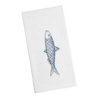 White and Blue Embroidered Fish Kitchen Towel