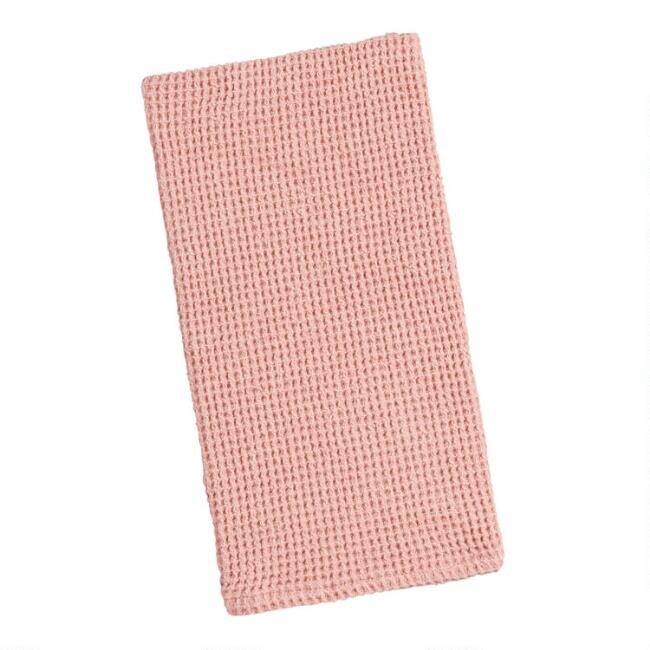 Rose Pink Waffle Weave Kitchen Towel