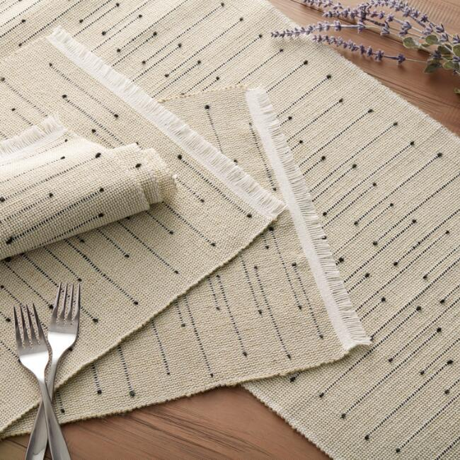 Black Dot Arusha Table Linen Collection