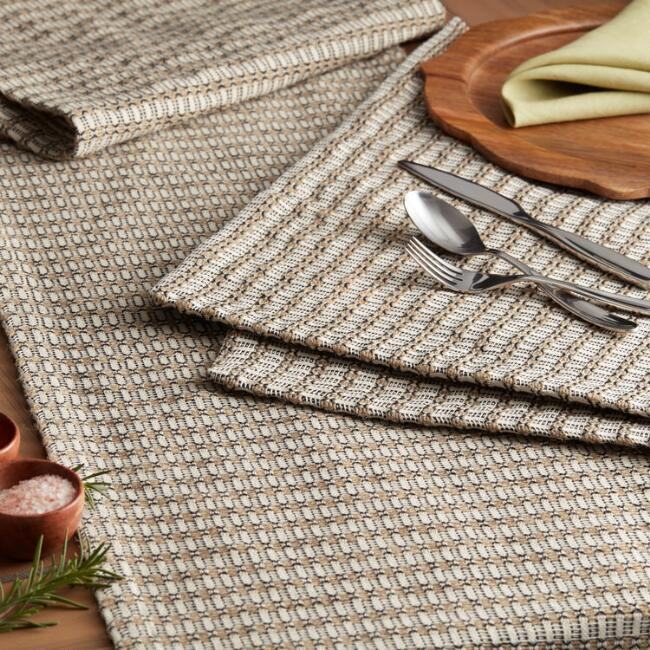 Natural And Black Geo Lindi Table Linen Collection