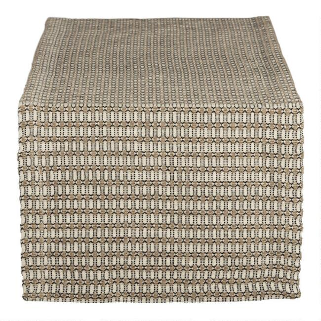 Natural And Black Geo Lindi Table Runner