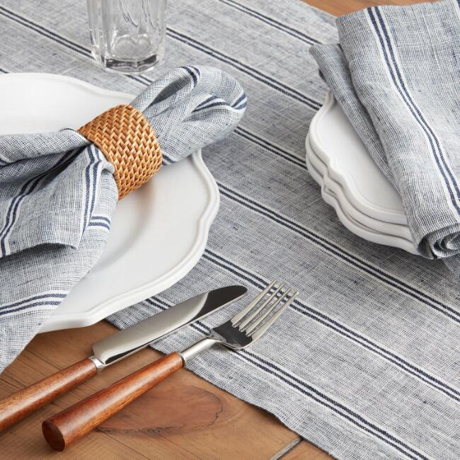 Indigo Stripe Eleni Table Linen Collection