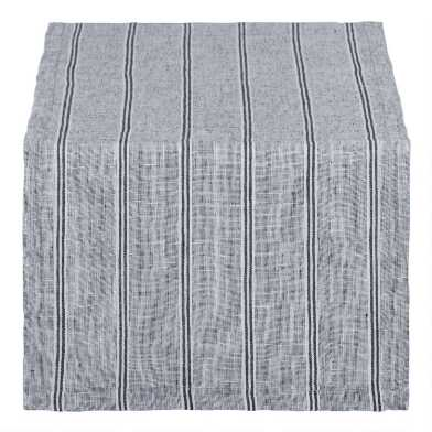 Indigo Stripe Linen Eleni Table Runner
