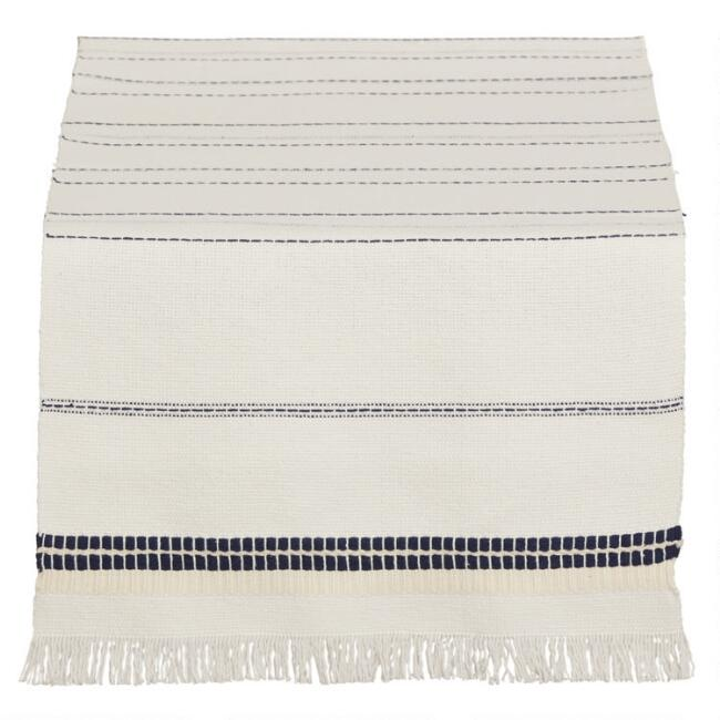 White and Blue Stripe Samos Table Runner