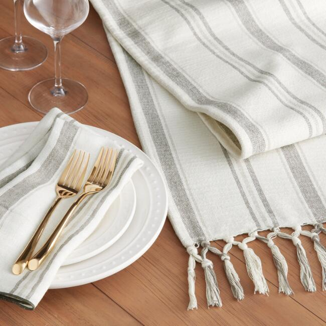 Gray and Ivory Stripe Roani Table Linen Collection