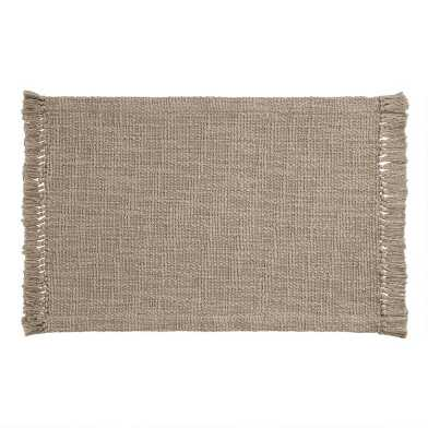 Taupe Woven Cotton Deven Placemats Set Of 4