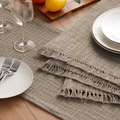 Taupe Woven Cotton Deven Table Linen Collection