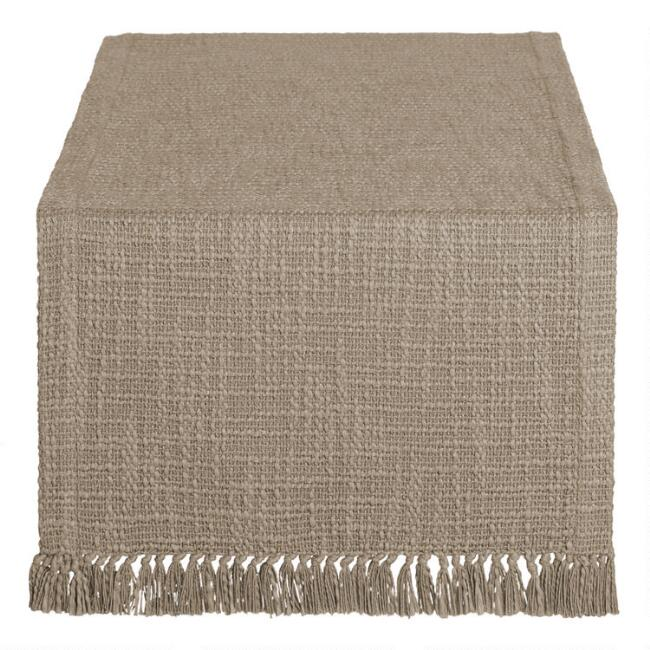 Taupe Woven Cotton Deven Table Runner