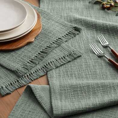 Sage Woven Cotton Deven Table Linen Collection