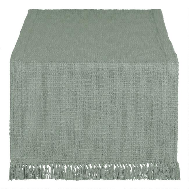 Sage Woven Cotton Deven Table Runner