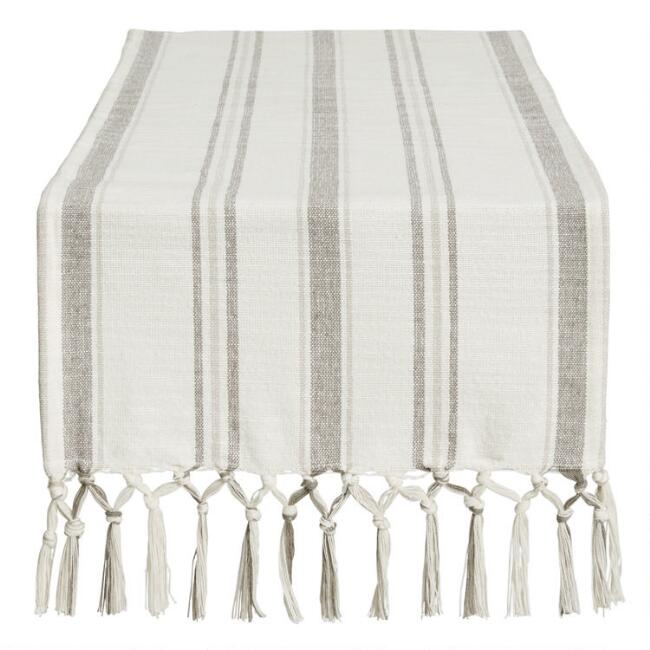 Gray and Ivory Stripe Roani Table Runner