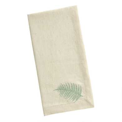 Natural Cotton Embroidered Fern Napkins Set Of 4