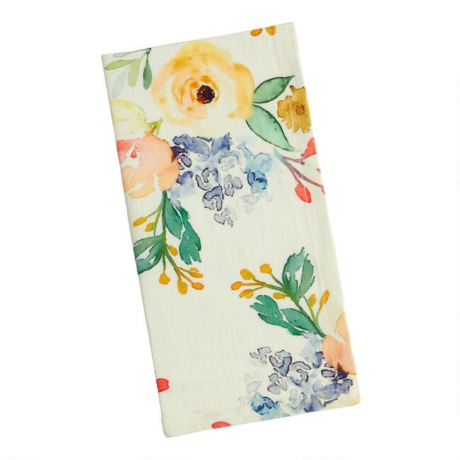 Ivory Multicolor Peony Napkins Set of 4