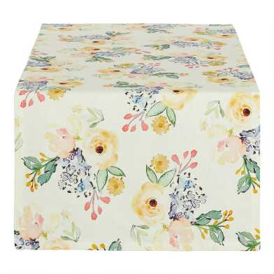 Ivory Multicolor Peony Table Runner