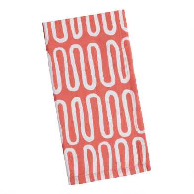 Coral and White Wave Napkins Set Of 4