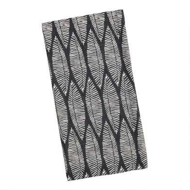 Black And White Leaf Napkins Set Of 4
