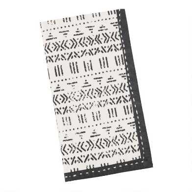Black And White Block Print Napkins Set Of 4