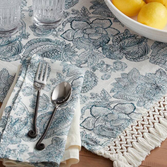 Blue And White Floral Bali Table Linen Collection