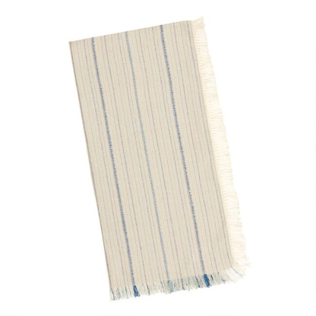 Blue And Ivory Stripe Woven Caren Napkins Set Of 4
