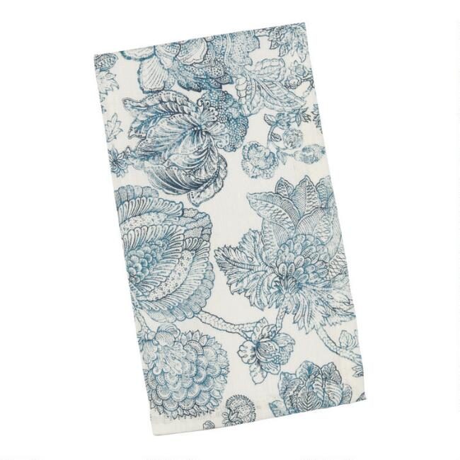Blue And White Floral Linen Bali Napkins Set of 4