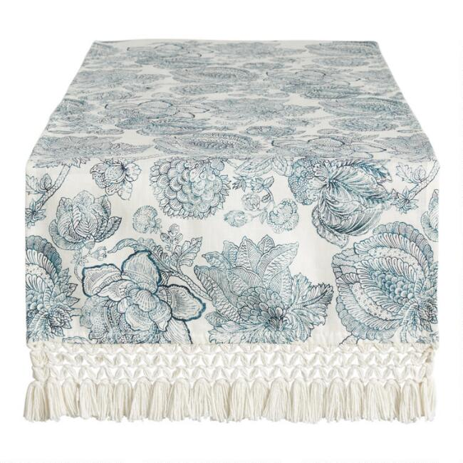 Blue And White Floral Linen Bali Table Runner