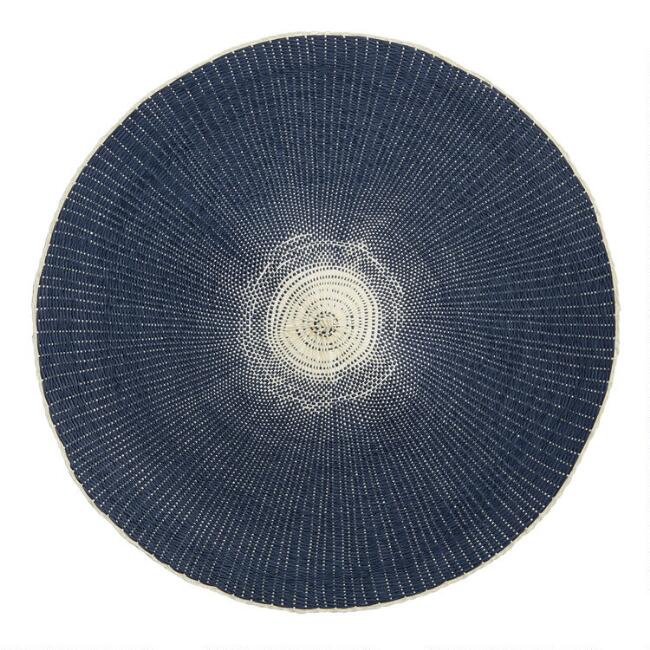 Round Indigo Woven Paper Placemats Set Of 4