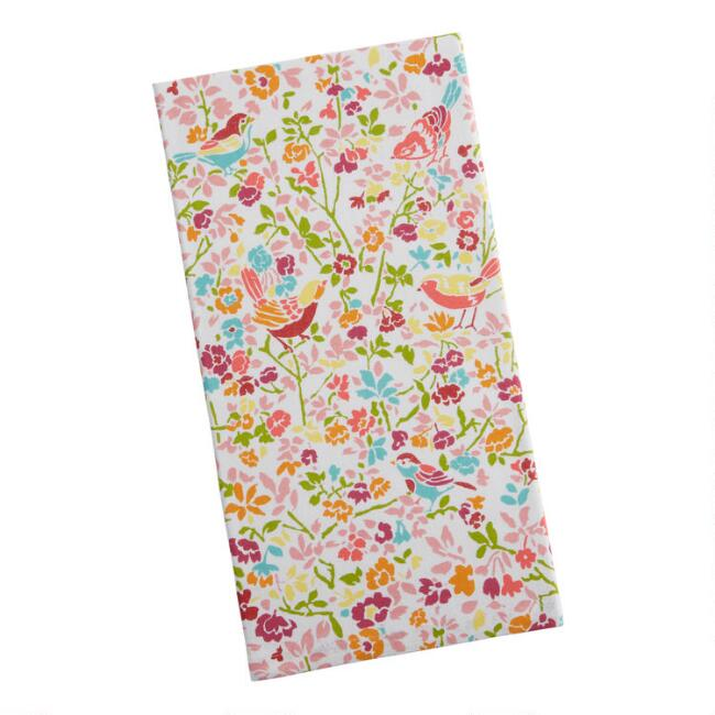 Multicolor Birds And Flowers Kitchen Towel