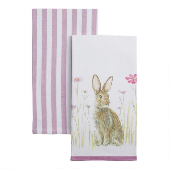 Bunny And Lavender Stripe Kitchen Towels 2 Pack