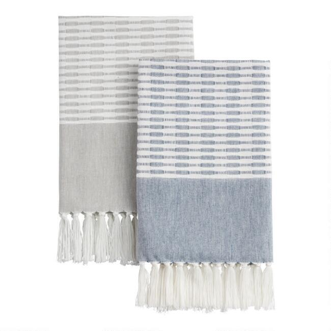 Woven Dobby Stripe Kitchen Towel With Fringe