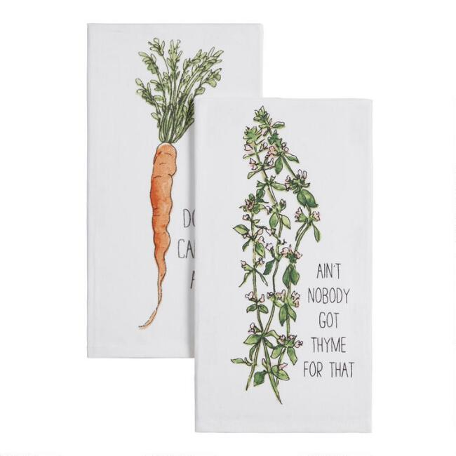 White Funny Food Kitchen Towel