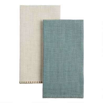 Waffle Weave Kitchen Towel With Stitched Border