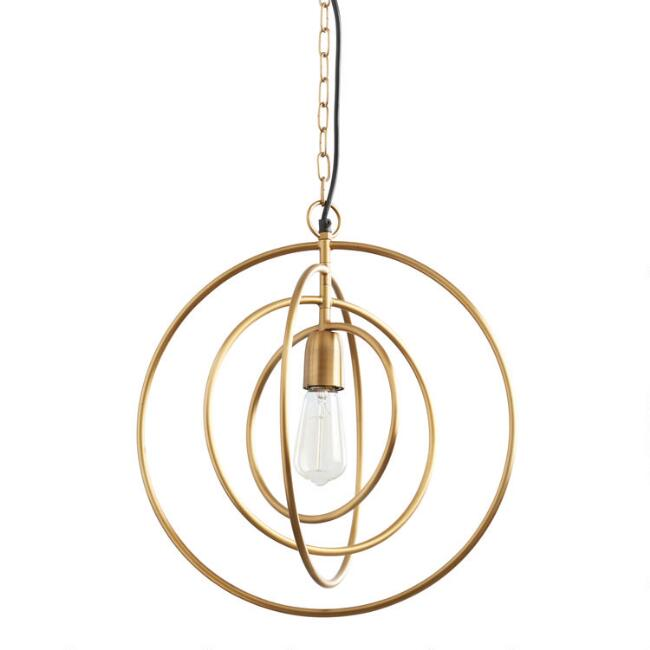Antique Brass Sculptural Ring Hayley Pendant Lamp