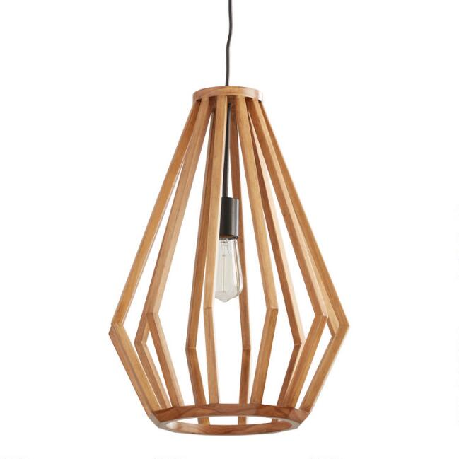 Natural Wood Faceted Teardrop Emery Pendant Lamp