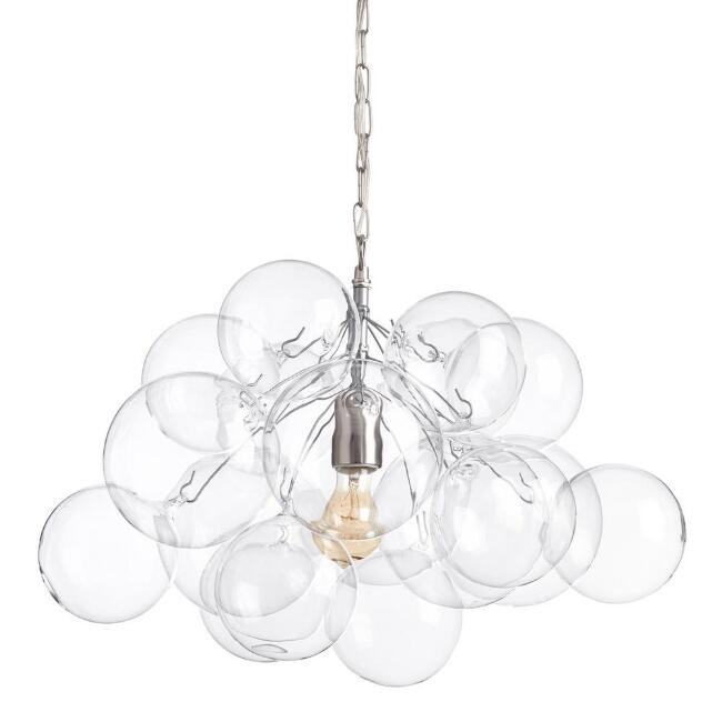Clear Blown Glass Bubble Pendant Lamp