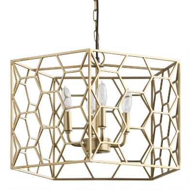 Gold Geometric Honeycomb 4 Light Chandelier