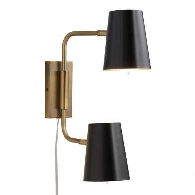 Black and Gold 2 Light Adjustable Jackson Wall Sconce